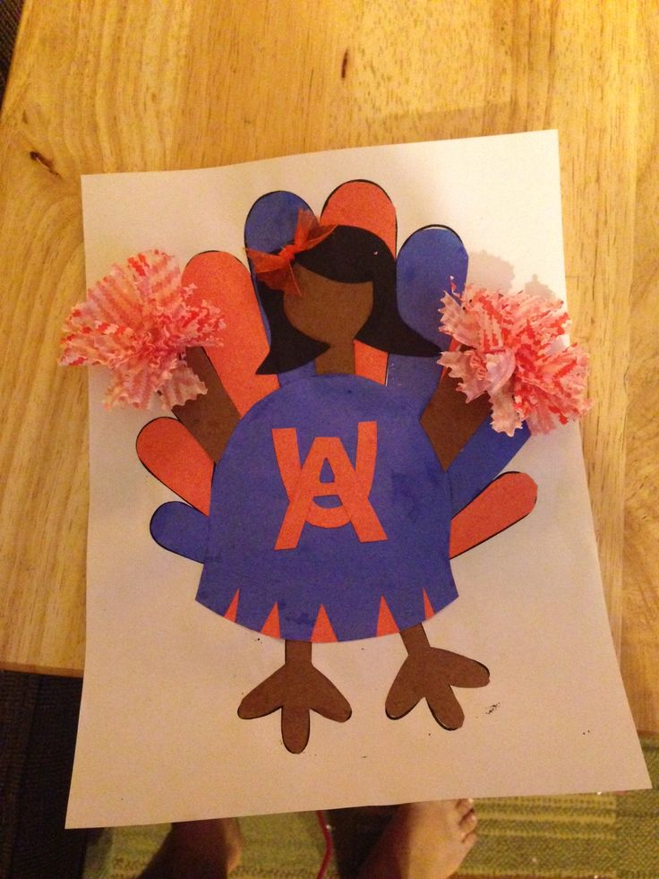 Turkey disguise project as a cheerleader turkey for Cheerleading arts and crafts