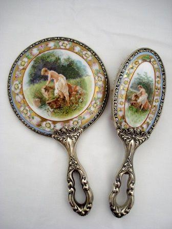 Antique Art Nouveau Scenic Portrait Vanity Hand Mirror Brush Set