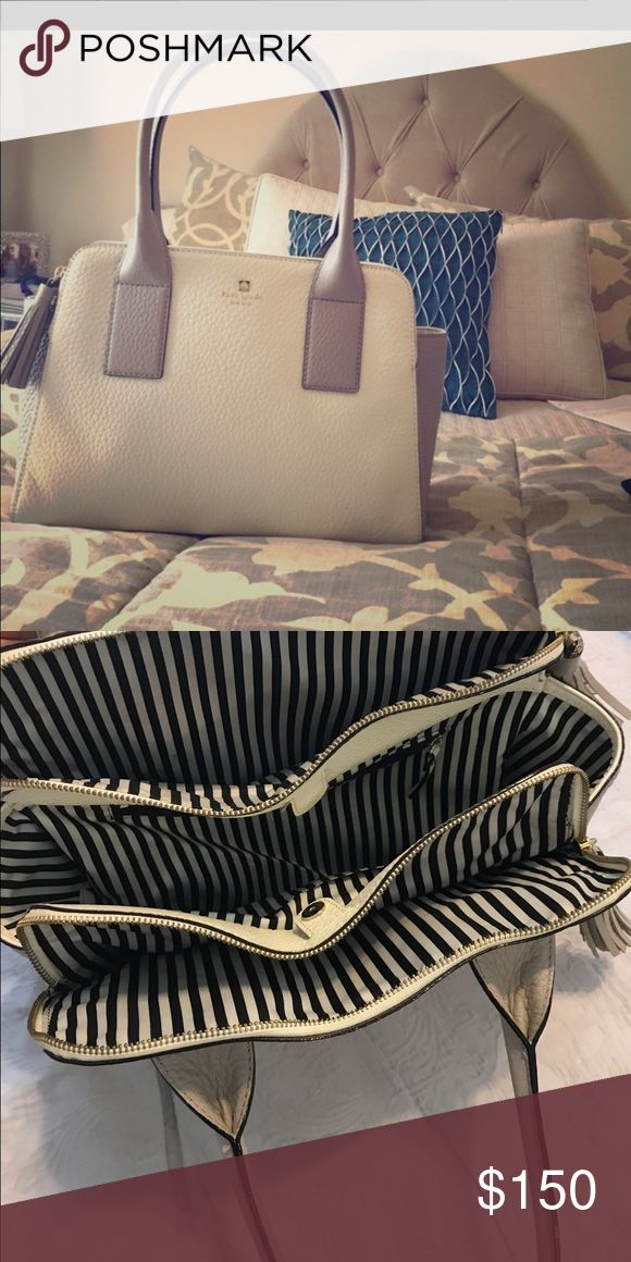 Kate spade leather grey and white purse Beautiful new condition real leather grey and white purse with multi pocket and blue and white stripe interior, duster bag included kate spade Bags Shoulder Bags