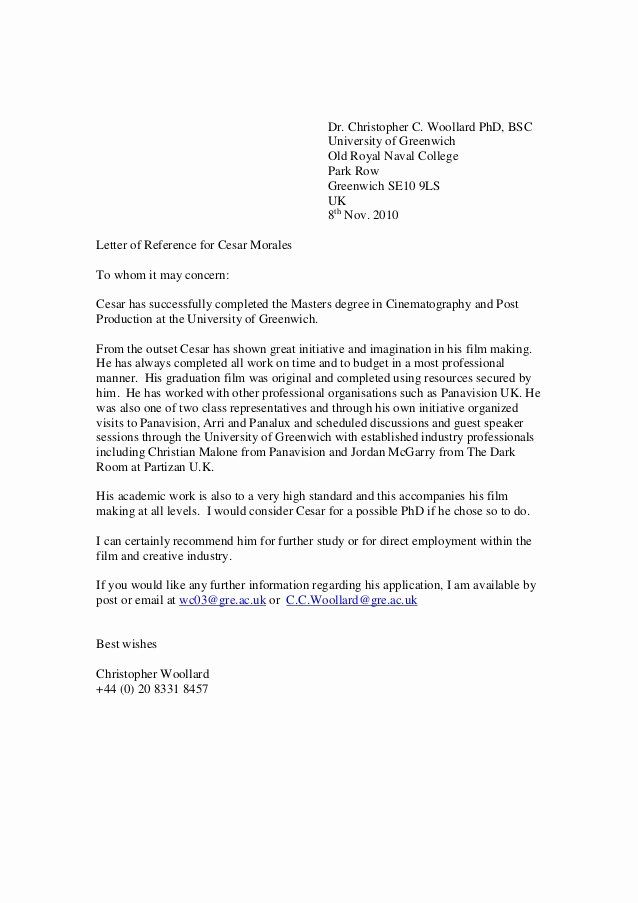 College Admission Recommendation Letter Template Inspirational Greenwich Reference Lett Reference Letter For Student Reference Letter Academic Reference Letter