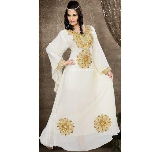 Cream Faux Georgette Designer Arabic #Kaftan