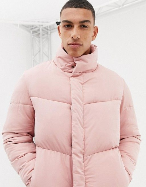 39f3a34ee DESIGN oversized puffer jacket in pink in 2019 | Pitch night winter ...