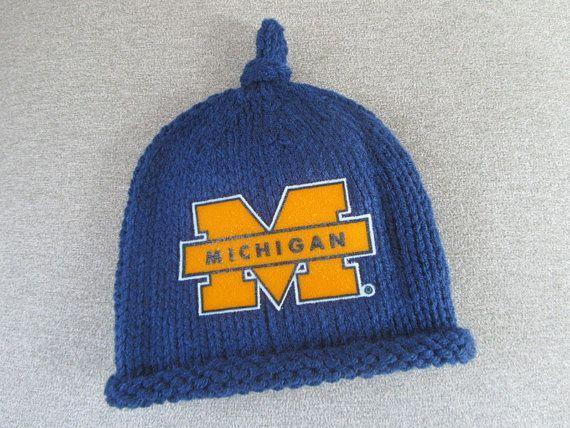 MICHIGAN Hand Knit Baby Hat  U of M by UpNorthKnitsAndGifts, $25.00