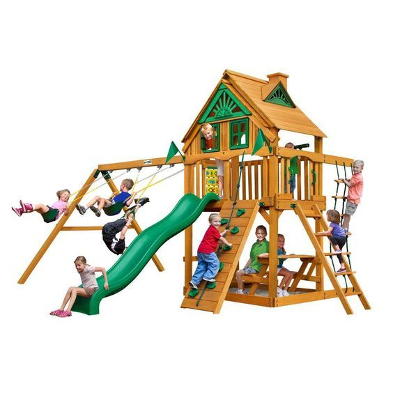 Gorilla Playsets Chateau Treehouse Swing Set with Amber Posts, Browns/Tans