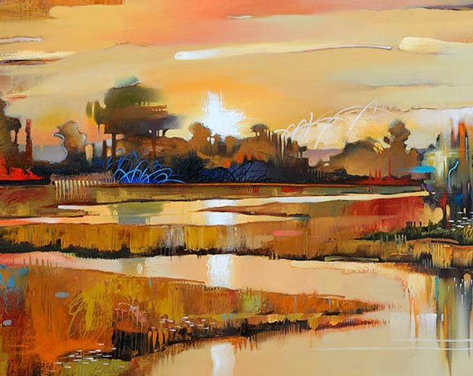 Abstract Landscape Fine Art Paper Print Mill Creek Sunset Contemporary Landscape Seascape Painting Reproduction Abstract Sail Boat Abstract Art Landscape Modern Artwork Abstract Contemporary Landscape Painting