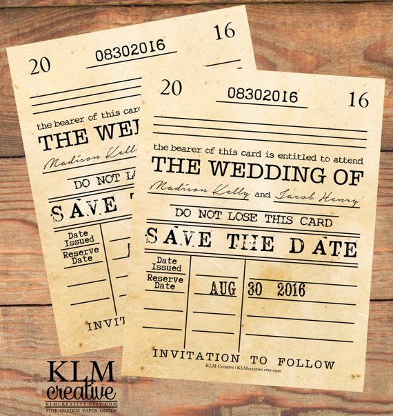 Announce Your Special Day In Style And Class With Our Library Card Save The Date Postcard Our Dig Save The Date Templates Save The Date Postcards Library Card