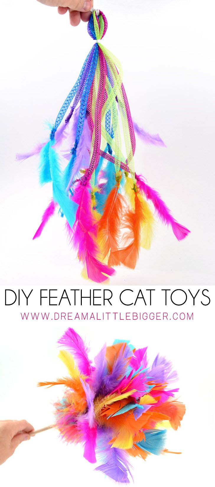 If your kitty loves feathers, and what cat doesn't, she's going to LOVE these DIY feather toys you can make from her. So much sturdier than store bought and cats love homemade! #ad