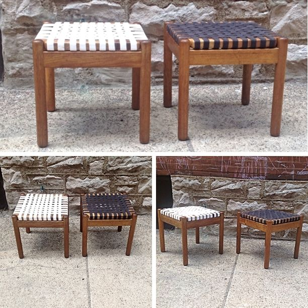 Vintage Spanish Stool Sidetables With Webbing Pricing