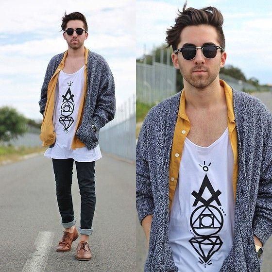 Thrifted Cardigan, Thrifted Mustard Shirt, Acid Reign Diamond Singlet ( Coming Soon ), Levi's Jeans