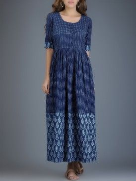 Indigo-dyed Block-printed Khadi Dress