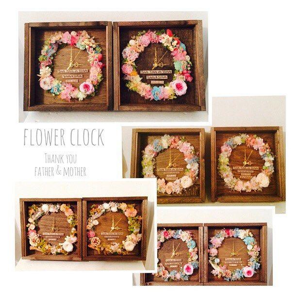, Flower clock 皆さんご注文ありがとうございました パステルカラーのハワイっぽい感じでとお作りした鮮やかな感じ 可愛い! , #notarina#両親用プレゼント#時計#お花の時計#両親へのプレゼント#ウエディング#wedding