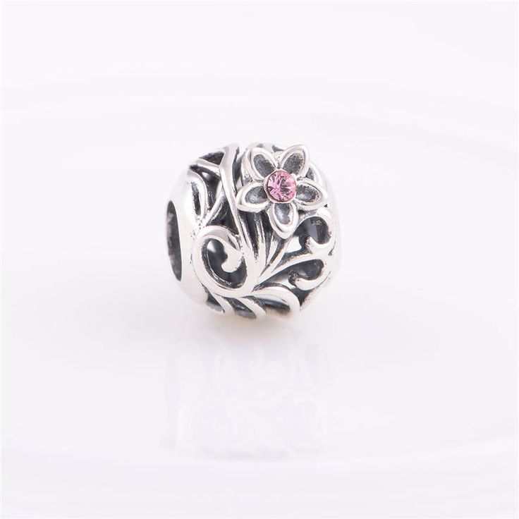 Bead stile openwork con fiore e zircone rosa Argento sterling 925 adatta misure Pandora charm Pandora bead Braccialetto europeo X128 di OceanBijoux su Etsy