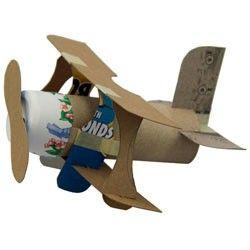 Mini-Bi Plane: 1 toilet paper tube  Cereal box or some cardboard  Regular masking tape  1 small paper cup