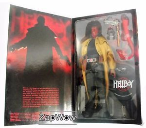 Hellboy figure based on Ron Perlman from the Hellboy film, wearing a full length leather coat. For sale £299.99