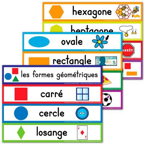 Mots étiquettes, les formes géométriques