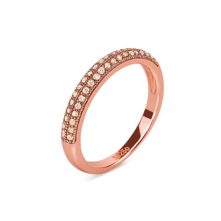 35€ Fashionably Silver Essentials Rose Gold Plated Band Ring