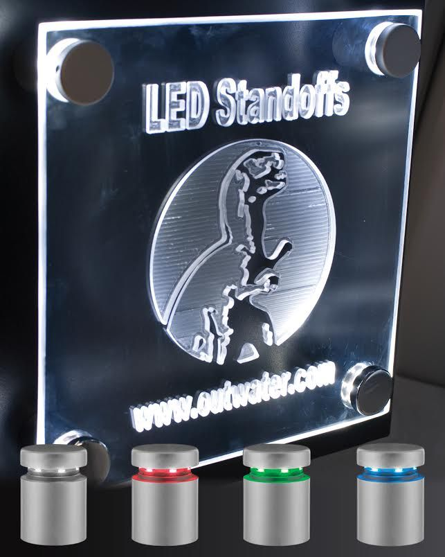Outwater now offers its extremely popular LED Standoffs for Signage and Displays with Red, Green and Blue lighting options in conjunction with its original White lit format.  http://www.justleds.co.za