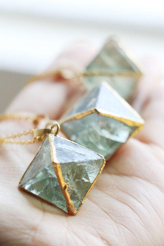 Raw crystal necklaceRainbow Fluorite by VermeerJewellery on Etsy