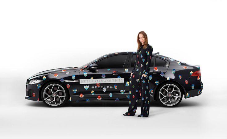 jaguar XE superhero print by stella mccartney at the paris motor show