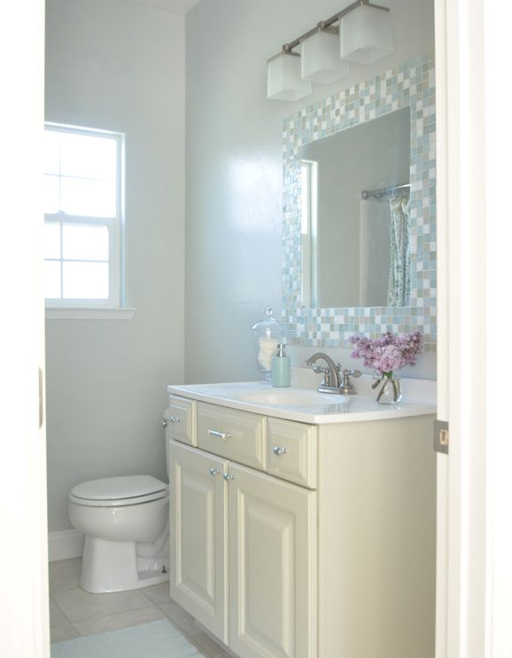 25 best ideas about tile around mirror on pinterest neutral bathroom paint sinks for small for How to paint a bathroom behind toilet
