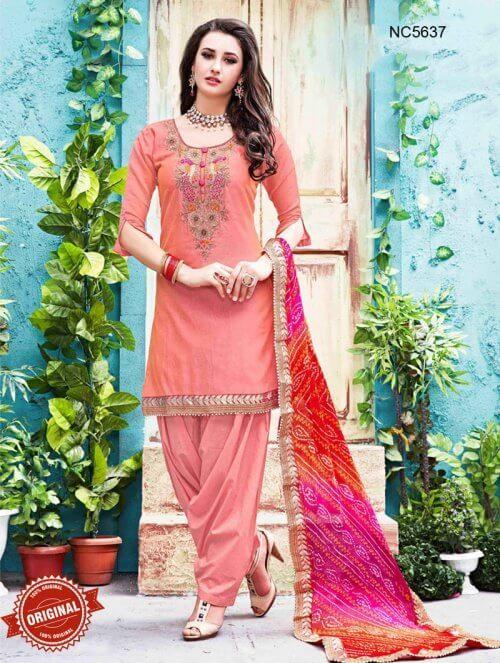 Pink Chanderi Silk Patiala Suit