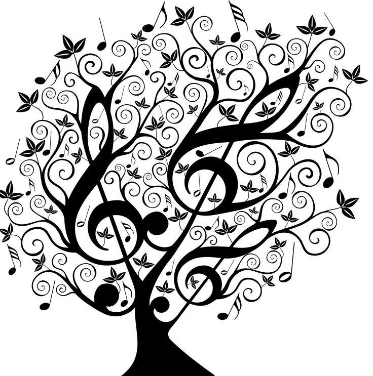 Arbre contenant 3 clés de sol et des notes de musique