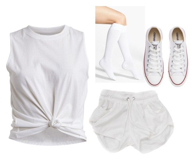 """""""similar to what I wore to the white out football game last night!"""" by mads-thompson ❤ liked on Polyvore featuring mode, VILA, Nordstrom en Converse"""