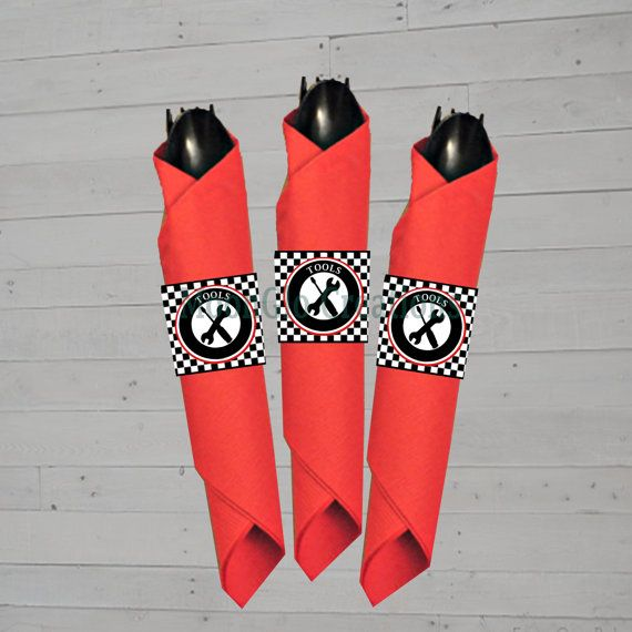 Race car theme Napkin and cutlery wrapper. by MoonGloCreations