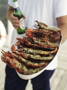 Grilled Lobster and a cold beer!! Perfect!