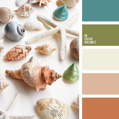 бежевый, бирюзовый, зеленый, змеевик, коричневый, оттенки рыже-коричневого, рыже-коричневый, тёмно-зелёный, цвет зелени, цвет морской раковины, цвет песка, цвет раковины, цвета лета.