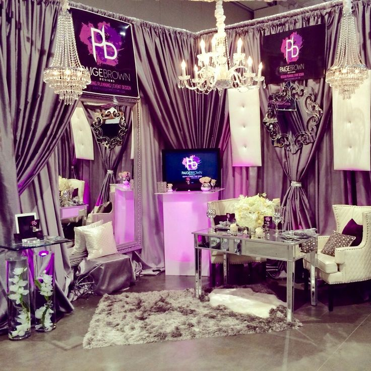 Pink bride bridal show booth, Nashville, Tennessee Wedding planner, silver and purple, Paige Brown Designs, www.paigebrowndesigns.com