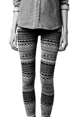 aztec leggings and denim shirt