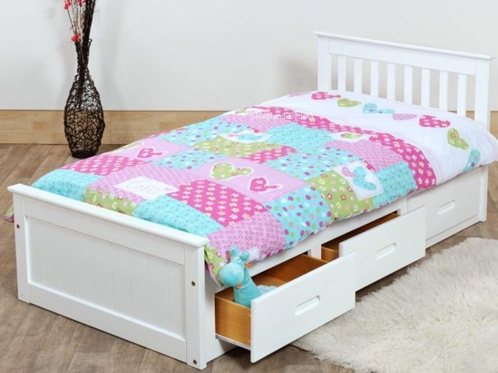 White Single Bed With Storage | White Wooden Bed With Storage Drawers