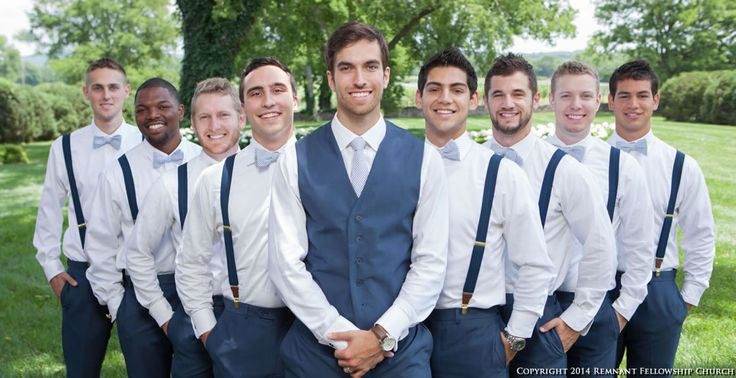 Summer navy blue groomsmen suit with suspenders and bowties
