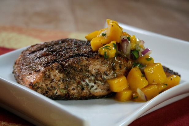 Bi-Coastal Grilled Indian Salmon: Bal Arneson fuses flavors and foods from India's east and west coasts, introducing a sweet and spicy mango salsa to spice-rubbed salmon.