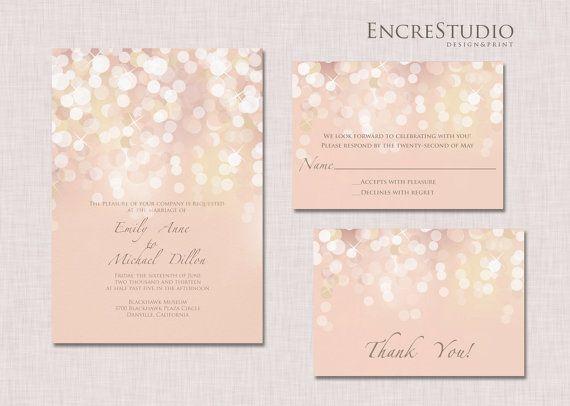 Gold and Blush Bokeh Wedding Invitation by encrestudio on Etsy