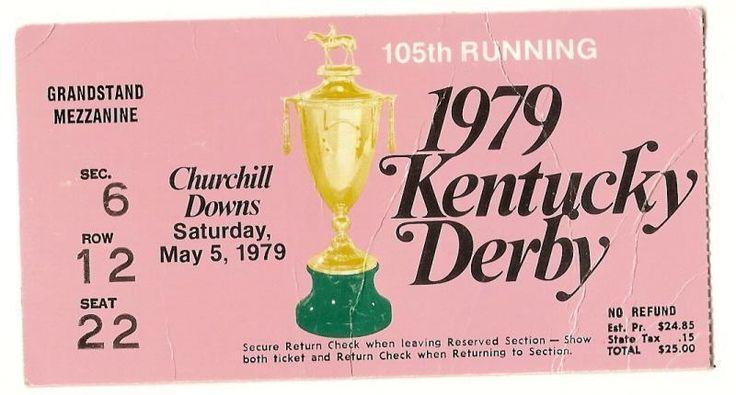 1979 Kentucky Derby ticket stub Spectacular Bid