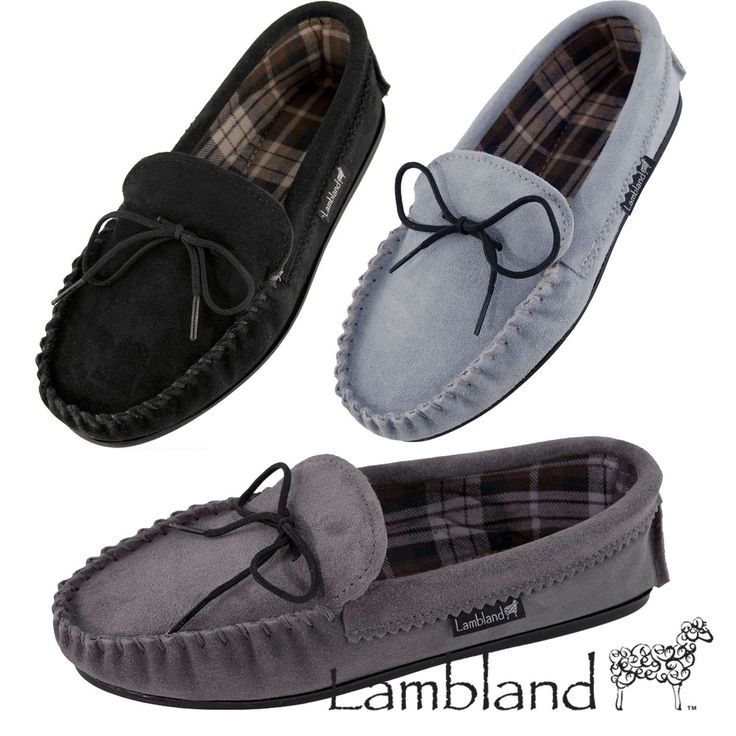 Lambland Mens / Ladies Sheepskin Suede Moccasin Slippers With Cotton Lining