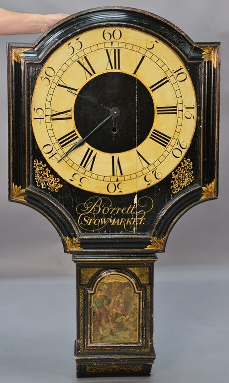 Unusual George III black lacquered and gilded tavern clock face and case ~ Realized Price $4,687.50