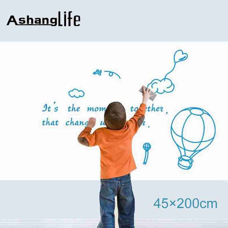 45*200cm Whiteboard  Waterproof Self-adhesive Removable DIY wall Sticker for Kids Graffiti Home Decor office wall 2016 Hot Sale #Affiliate