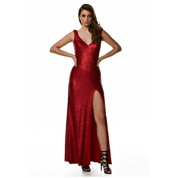 Take charge in this shimmering red evening dress bought to you by Langhem Australia. Dress Style Points:Deep V neckline allowing you to wear a bra Fitted with bust cups for extra comfort  Red sequins shimmer to give you old hollywood glamour  Centre back zip for ease when stepping in and out of  Skimming over the body to the floor this evening dress is ideal  Fully lined in a stretch fabric  Call a stylist today 1300 523 443 for same day delivery