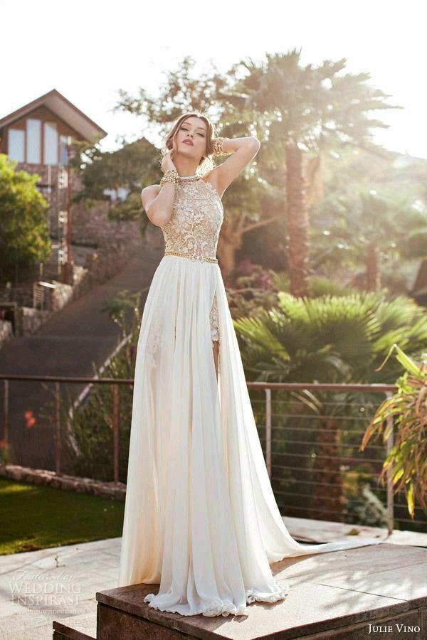 vestido largo blanco con dorado