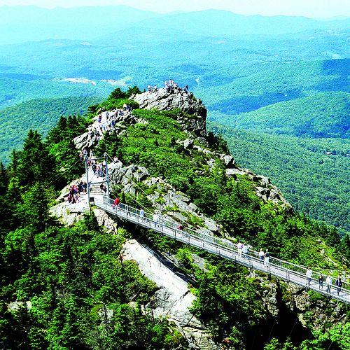 Mile High Swinging Bridge at Grandfather Mountain in Linville, North Carolina, US