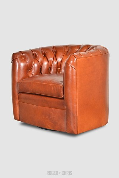 Oliver Tufted Barrel Chair With Swivel In Mont Blanc Amber