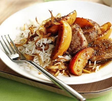Pork fillet makes a quick supper and is quite low in fat. Try this dish with crispy onion rice on the side