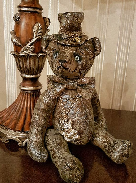 OOAK teddy bear Artist teddy Interior toy Collection bear Jointed teddy bear Brocade teddy bear in hat Exclusive present Gift for him