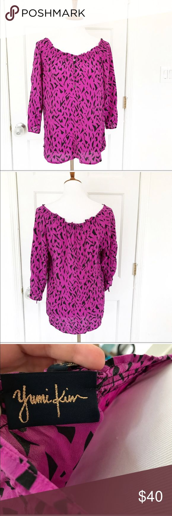 Yumi Kim smock neck henley silk blouse Beautiful silk top by Yumi Kim. Can be worn off the shoulders. Purple with black geometric pattern. Size small but blousey. Black buttons on the front and sleeves. No flaws. ✅ Offers welcome. Yumi Kim Tops Blouses