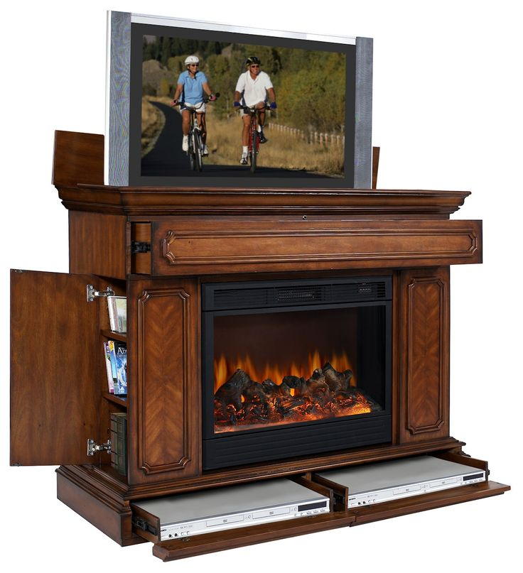 Remington Lcd Tv Lift Cabinet W Electric Fireplace Base Drawers Hidden Doors