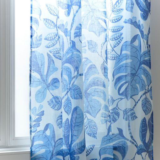 Image of the product Blue floral printed linen curtain