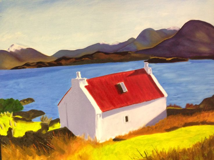 Red roofed croft, Scottish Highlands. Landscape oil painting on canvas.
